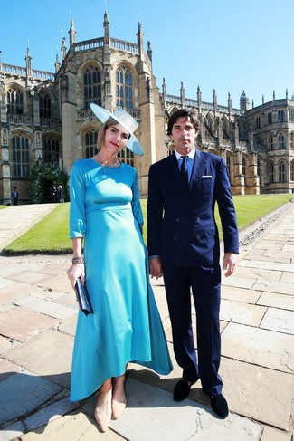 How to wear: aquamarine satin midi dress, tan suede ballerina shoes, navy leather clutch, light blue hat