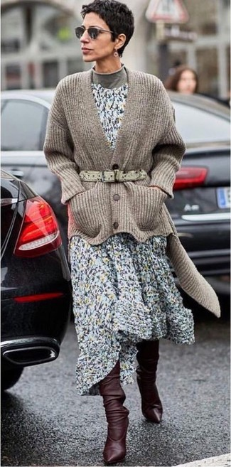 How to wear: dark brown leather knee high boots, light blue floral midi dress, grey turtleneck, brown knit cardigan