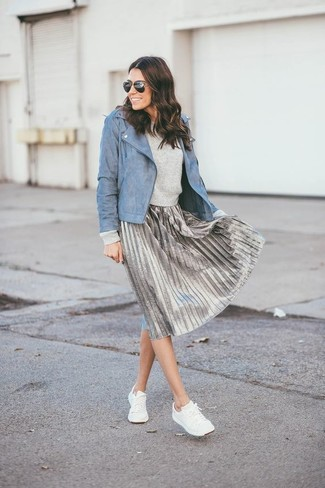 12cc3501c9 ... Women's White Low Top Sneakers, Silver Pleated Midi Skirt, Grey  Crew-neck Sweater