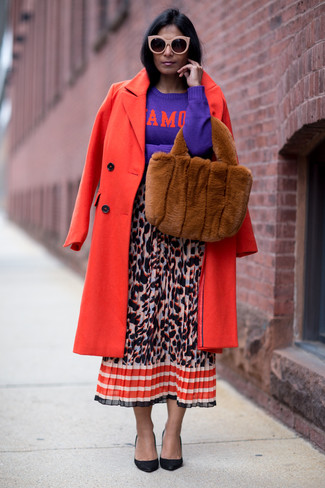 How to wear: black leather pumps, multi colored leopard midi skirt, violet print crew-neck sweater, red coat