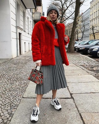 Women's White and Black Athletic Shoes, Grey Pleated Midi Skirt, Grey Crew-neck Sweater, Red Fur Coat