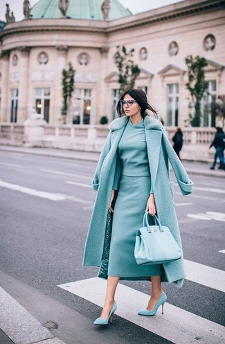 How to wear: mint suede pumps, mint midi skirt, mint crew-neck sweater, mint fur collar coat