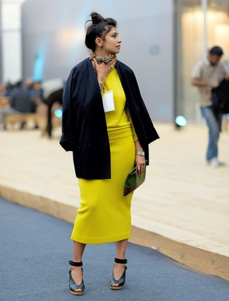 How to wear: black leather wedge sandals, yellow knit midi skirt, yellow crew-neck sweater, black kimono