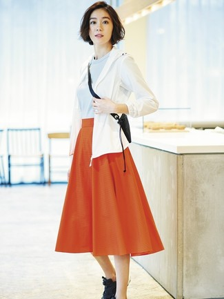 How to wear: black athletic shoes, red pleated midi skirt, light blue crew-neck sweater, white windbreaker