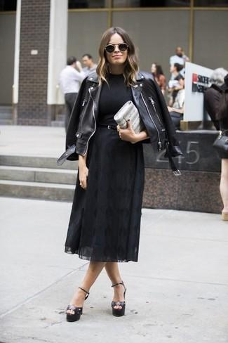 How to wear: black leather heeled sandals, black chiffon midi skirt, black crew-neck t-shirt, black leather biker jacket