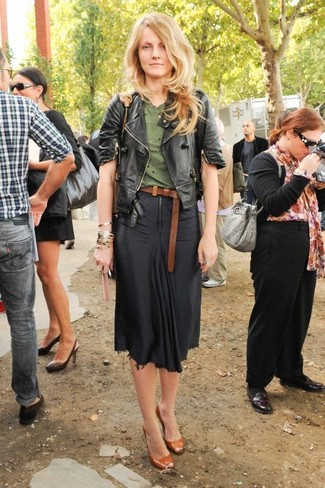 How to wear: tobacco cutout leather pumps, black midi skirt, olive crew-neck t-shirt, black leather biker jacket