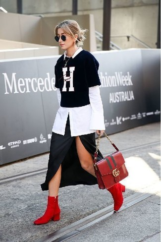 How to wear: red suede ankle boots, black slit midi skirt, black and white print crew-neck t-shirt, white dress shirt