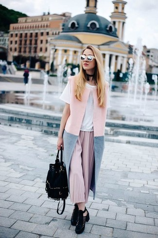 How to wear: black cutout suede ankle boots, pink pleated midi skirt, white crew-neck t-shirt, pink sleeveless coat