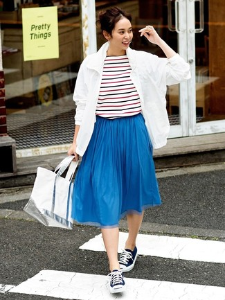 How to wear: navy canvas low top sneakers, blue pleated midi skirt, white and red and navy horizontal striped crew-neck t-shirt, white windbreaker