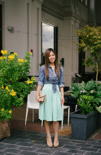 How to wear: beige leather heeled sandals, mint pleated midi skirt, white and black horizontal striped cropped top, blue chambray dress shirt
