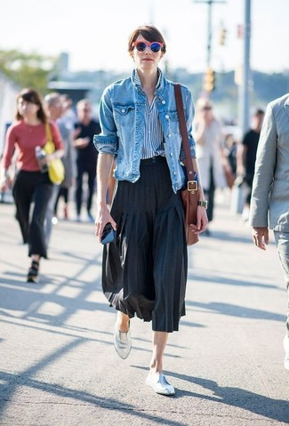 How to wear: silver leather loafers, black pleated midi skirt, white and blue vertical striped dress shirt, blue denim jacket