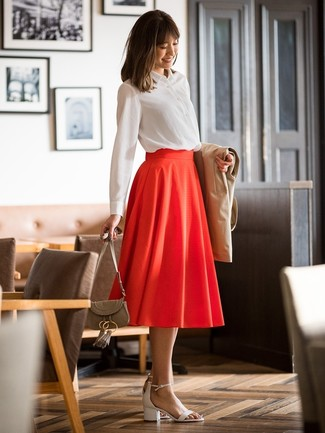 How to wear: white leather heeled sandals, red pleated midi skirt, white dress shirt, tan trenchcoat