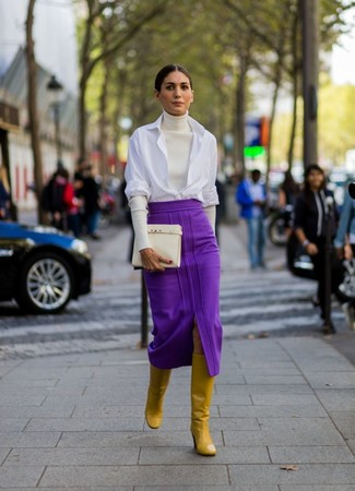 How to wear: mustard leather knee high boots, purple midi skirt, white dress shirt, white turtleneck