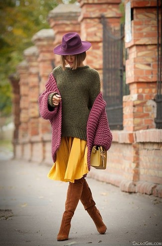 How to wear: tobacco suede over the knee boots, yellow pleated midi skirt, olive oversized sweater, purple knit cardigan