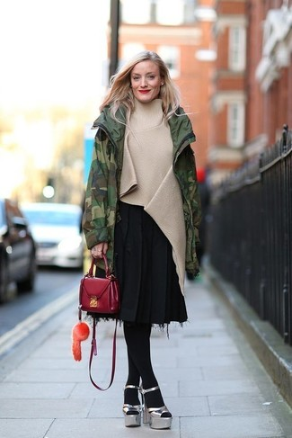 How to wear: silver chunky leather heeled sandals, black pleated midi skirt, beige poncho, dark green camouflage parka