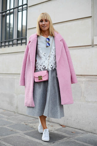 How to wear: white leather low top sneakers, grey pleated midi skirt, grey lace short sleeve blouse, pink coat