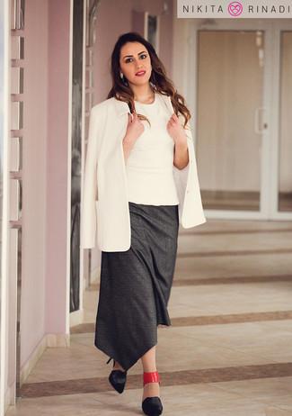 How to wear: black leather pumps, charcoal midi skirt, white sleeveless top, white blazer