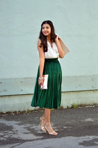 How to wear: gold leather heeled sandals, dark green pleated midi skirt, white sleeveless top, white coat