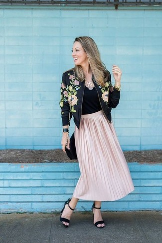 How to wear: black suede heeled sandals, pink pleated midi skirt, black tank, black floral bomber jacket