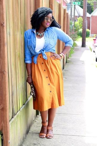 How to wear: tan leather heeled sandals, orange pleated midi skirt, white tank, light blue denim shirt
