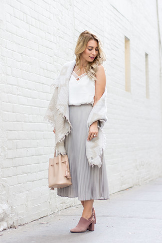 How to wear: pink suede mules, grey pleated chiffon midi skirt, white silk tank, beige cotton shawl