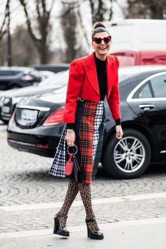How to wear: black chunky leather heeled sandals, multi colored plaid midi skirt, black turtleneck, red wool blazer