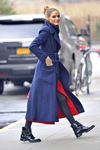 How to wear: black leather lace-up flat boots, red slit midi skirt, navy knit wool turtleneck, navy coat