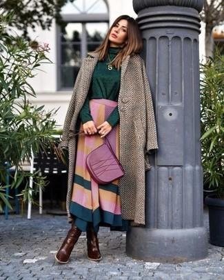 How to wear: dark brown leather knee high boots, multi colored geometric midi skirt, dark green turtleneck, brown herringbone coat