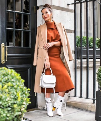 How to wear: white leather ankle boots, tobacco wool midi skirt, tobacco turtleneck, camel coat