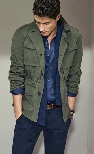 How to wear: olive military jacket, navy cardigan, navy chambray long sleeve shirt, navy chinos