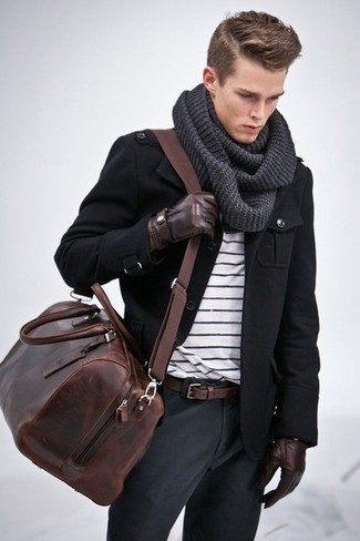 How to wear: black military jacket, white and black horizontal striped crew-neck t-shirt, charcoal chinos, dark brown leather holdall