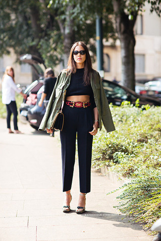 How to wear: olive military jacket, black cropped top, black dress pants, dark green canvas heeled sandals