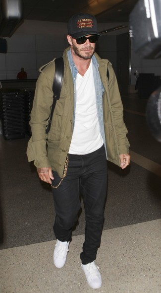 David Beckham wearing Olive Military Jacket, Light Blue Denim Shirt, White Crew-neck T-shirt, Black Jeans