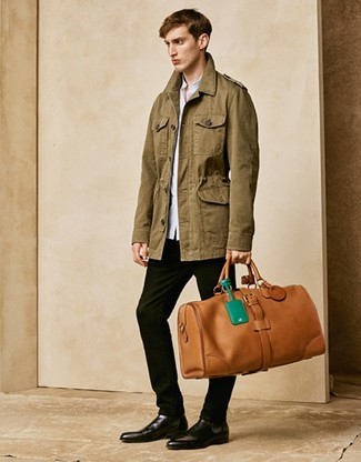 How to wear: olive military jacket, light blue long sleeve shirt, black chinos, black leather chelsea boots