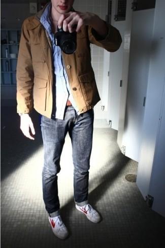 Military jacket long sleeve shirt jeans large 18