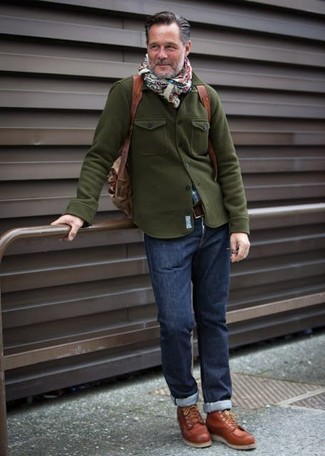 How to wear: olive military jacket, blue plaid long sleeve shirt, navy jeans, tobacco leather high top sneakers