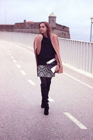 How to wear: black suede knee high boots, black and white geometric mini skirt, black cowl-neck sweater, camel coat