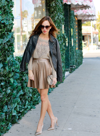 How to wear: gold leather pumps, gold pleated mini skirt, beige lace crew-neck sweater, black leather biker jacket