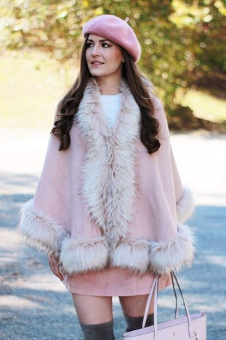 Women's Looks & Outfits: What To Wear In 2020: For To don an off-duty ensemble with a twist, you can easily rely on a pink cape coat and a pink suede mini skirt. Charcoal suede over the knee boots complete this getup quite nicely.