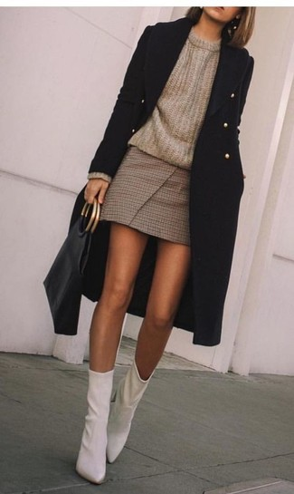 How to wear: white leather ankle boots, brown check mini skirt, brown crew-neck sweater, black coat