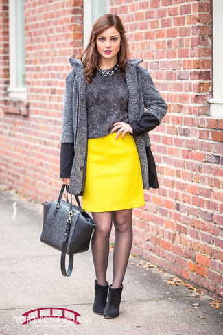 How to wear: black suede ankle boots, yellow leather mini skirt, charcoal fluffy crew-neck sweater, charcoal herringbone coat