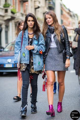 How to wear: purple sequin ankle boots, grey tweed mini skirt, grey crew-neck t-shirt, black leather biker jacket
