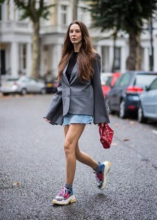 How to wear: multi colored athletic shoes, light blue denim mini skirt, black crew-neck t-shirt, grey blazer