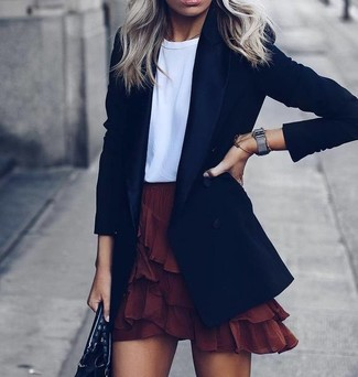 How to wear: black leather tote bag, burgundy ruffle mini skirt, white crew-neck t-shirt, black blazer