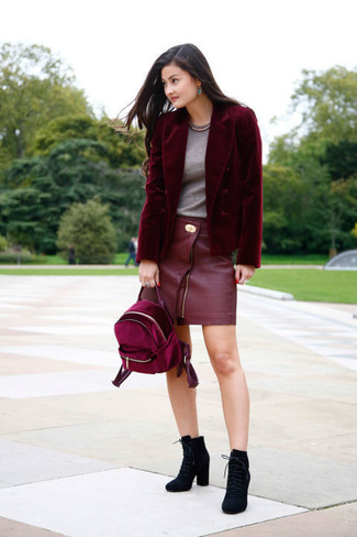 How to wear: black suede lace-up ankle boots, red leather mini skirt, grey crew-neck t-shirt, burgundy velvet blazer