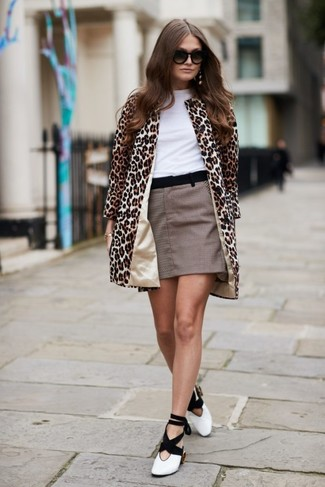 How to wear: white and black leather pumps, brown check mini skirt, white crew-neck t-shirt, camel leopard coat