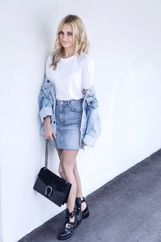 How to wear: black cutout leather ankle boots, light blue denim mini skirt, white crew-neck t-shirt, light blue denim jacket