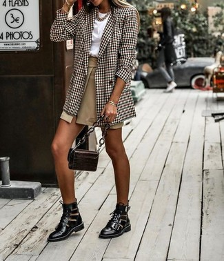 Women's Black Cutout Leather Lace-up Ankle Boots, Tan Slit Mini Skirt, White Crew-neck T-shirt, Brown Plaid Double Breasted Blazer
