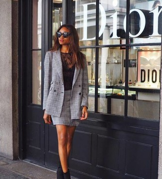 How to wear: black suede ankle boots, grey plaid mini skirt, black lace crew-neck t-shirt, grey plaid double breasted blazer
