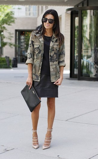 How to wear: beige leather pumps, black leather mini skirt, black crew-neck t-shirt, olive camouflage military jacket